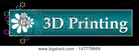 3D printing text written over dark colorful background.