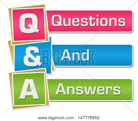 Q and A - questions and answers text alphabets written over colorful background.