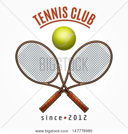 Tennis team club label with crossed racquets and tennis ball isolated on white background vector