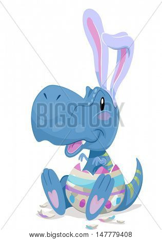 Dinosaur Illustration of a Baby Tyrannosaur in Bunny Ears Hatching from an Easter Egg