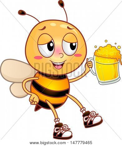 Illustration of an Intoxicated Honeybee Drunkenly Raising its Beer Mug for a Toast