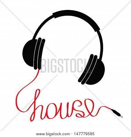 Black headphones with red cord in shape of word house. Music card. Flat design icon White background. Isolated Vector illustration