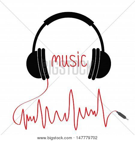 Headphones with red cord in shape of cardiogram. Music Card. Black text. Flat design icon. White background. Isolated Vector illustration