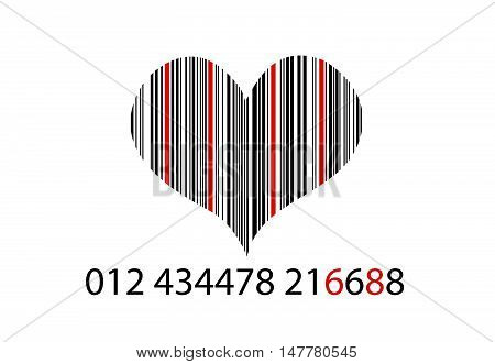 Bar-code on white with heart vector illustration
