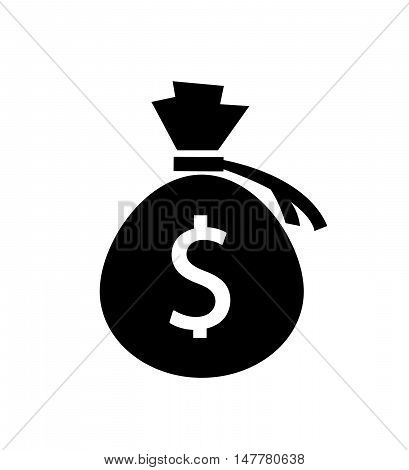 Money bag icon. Dollar USD currency symbol.