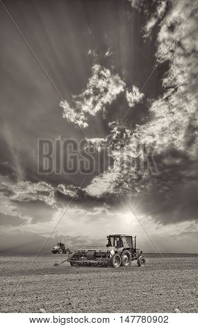 Tractors cultivating the field on sunset - black and white image