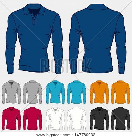 Set of colored long sleeve polo-shirts templates for men.