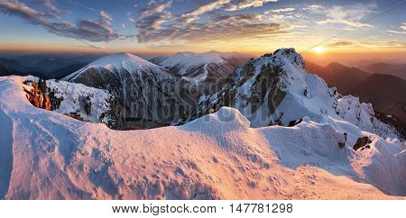 Landscape at winter in sunset moutain Slovakia