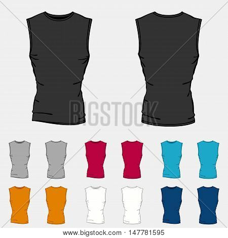 Set of colored sleeveless shirts templates for men.