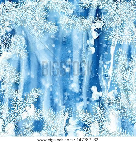 Winter background of fir branches. Watercolor background with hand drawn branches of spruce.
