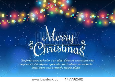 Merry Christmas bokeh background with party lights bright vector poster