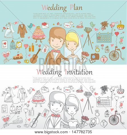 Doodle line design of web banner template with outline cartoon wedding icons