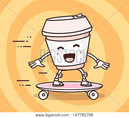 Vector illustration of color smile takeaway coffee cup riding skateboard on yellow background. Skateboarding cartoon concept. Doodle style. Thin line art flat design of character coffee cup for sport skateboard theme