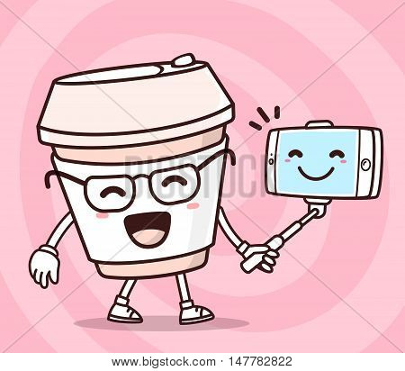 Vector illustration of color smile takeaway coffee cup with phone making selfie on pink background. Selfie cartoon concept. Doodle style. Thin line art flat design of character coffee cup for mobile selfie theme