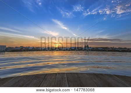 The magnificent sunrise by Riverside at Malaysia morning