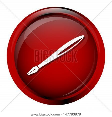 Quill pen icon on red button vector illustration