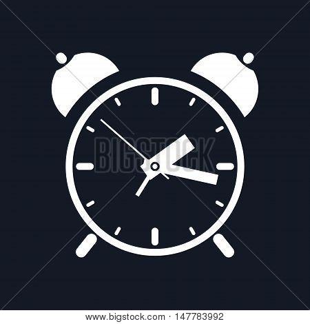 Alarm Clock Isolated on Black Background, Vector Illustration
