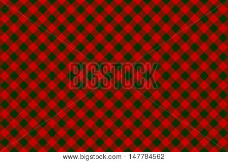 Red green check diagonal seamless background. Vector illustration.