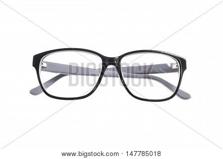 black glasses isolated on white background. spectacles old used