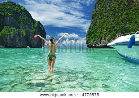 "Woman in beautiful lagoon at  Phi Phi Ley island, the exact place where ""The Beach"" movie was filmed"