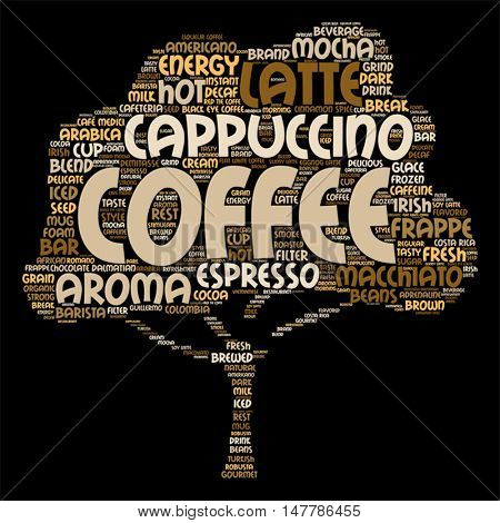 Vector concept conceptual creative hot coffee, cappuccino or espresso abstract tree  word cloud isolated on background