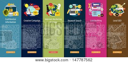 SEO and Development Vertical Banner Concept   Set of great vertical banner flat design illustration concepts for search engine optimization, development , marketing, advertising and much more.