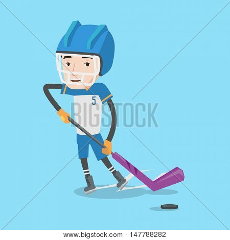 Young ice hockey player skating on ice rink. Ice hockey player with a stick. Sportsman playing ice hockey. Vector flat design illustration. Square layout.