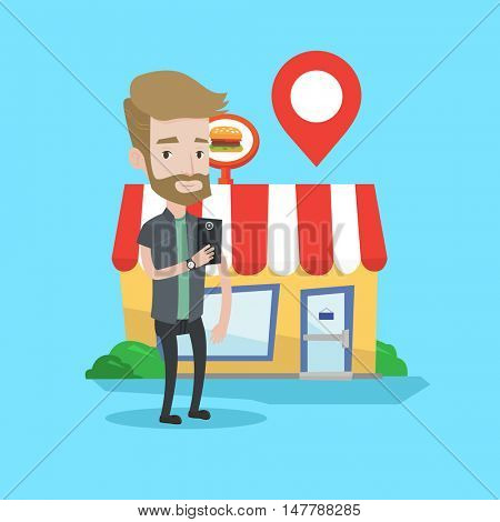 Hipster man holding smartphone with mobile app for looking for restaurant. Young man using smartphone on a background of restaurant with map pointer. Vector flat design illustration. Square layout.