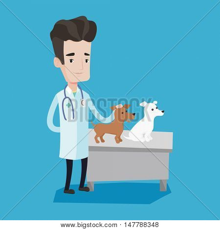 Young caucasian veterinarian with stetoscope examining dogs in hospital. Male veterinarian with dogs at vet clinic. Concept of medicine and pet care. Vector flat design illustration. Square layout.