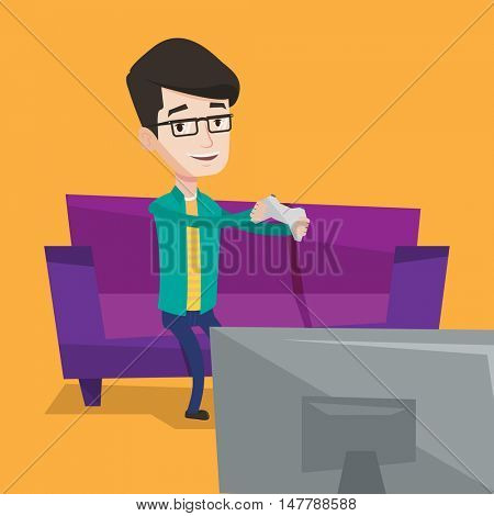 Happy caucasian gamer sitting on a sofa and playing video game on the television. An excited young man with console in hands playing video game at home. Vector flat design illustration. Square layout.