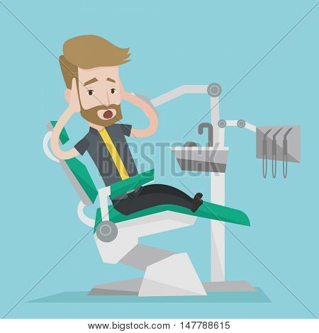 Frightened hipster patient with the beard at dentist office. Scared young man in dental clinic. Man visiting dentist. Afraid man sitting in dental chair. Vector flat design illustration. Square layout