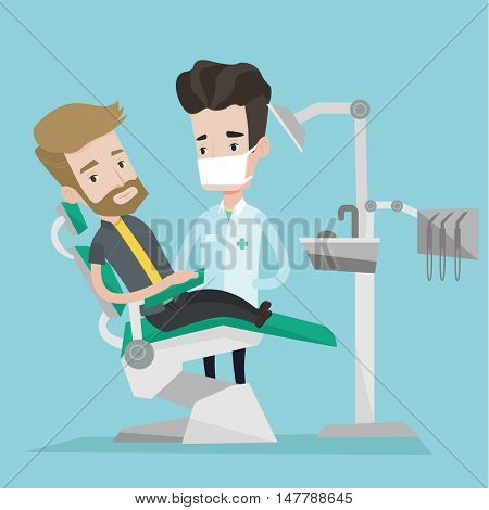 Young hipster man with the beard sitting at the chair at the dental office. Doctor and patient in the dental clinic. Patient on reception at the dentist. Vector flat design illustration. Square layout