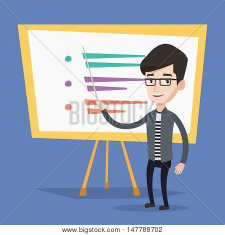 Happy caucasian teacher or student standing in front of board. Young smiling male teacher with a pointer standing in classroom. Concept of education. Vector flat design illustration. Square layout.