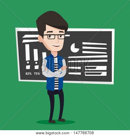 Happy caucasian teacher or student standing in front of chalkboard. Young smiling teacher with folded arms standing in classroom. Concept of education. Vector flat design illustration. Square layout.