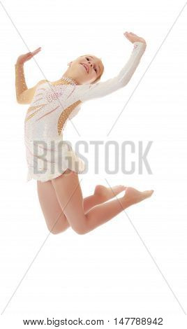Beautiful little girl gymnast dressed in sports swimsuit, jumps high.Isolated on white.