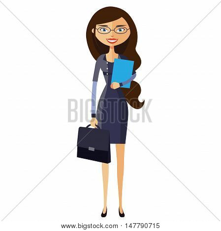 Spectacled good-looking business-lady. Bespectacled business-woman ready for work flat cartoon vector illustration. Eps10. Isolated on a white background.