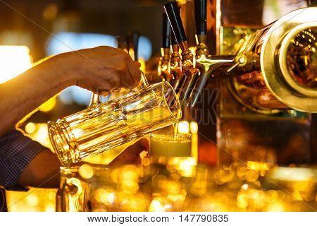 Hands bartender poured beer into a mug