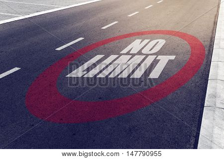 No limit sign on highway road safety and preventing traffic accident concept.