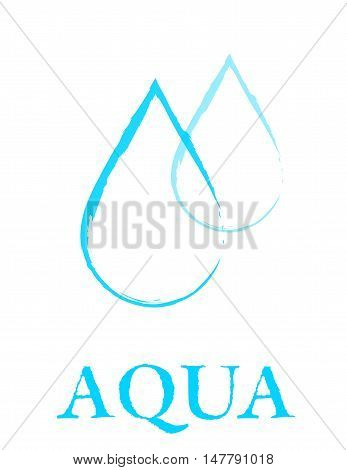 hand drawing blue linear water droplet sign