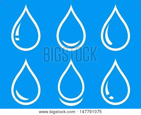 linear water droplet icon set on blue background