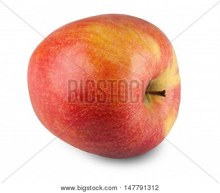 One ripe fresh red and yellow honeycrisp apple isolated on white background. Closeup image of sweet fruit, healthy natural organic food