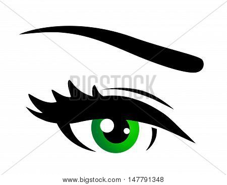 green eye icon with eyelashes on white background