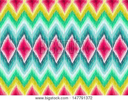 Ethnic Zig Zag Pattern Hippie Fabric Colorful