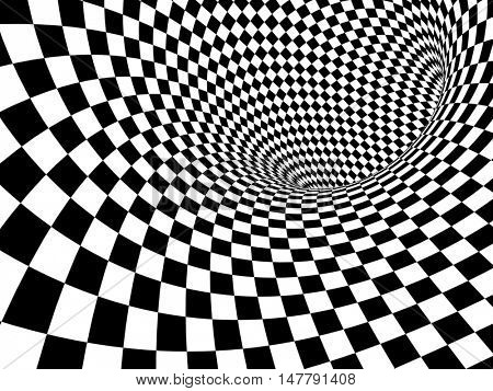 Abstract illusion. Black and white. 3d render