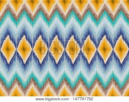 Ethnic Zig Zag Pattern Hippie Fabric Yellow Blue