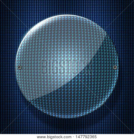 set 8. circle glossy glass with rivet on blue metallic mesh wall. 3d illustration background.