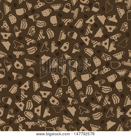 Set of Coffee Cups Seamless Pattern on Brown Background
