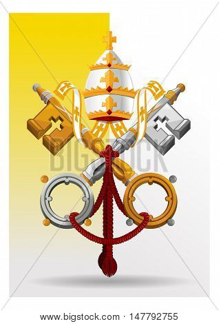 Vatican City State coat of arms on the background of the flag. Vector illustration