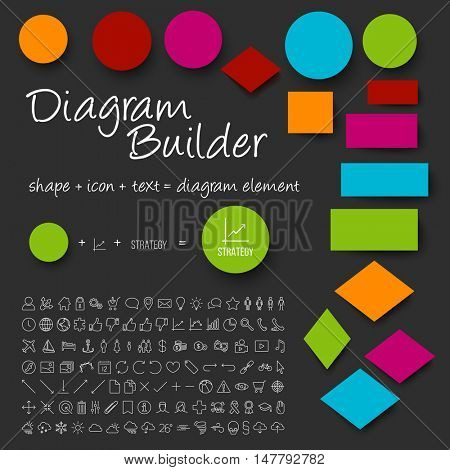 Vector schema diagram builder set - diy any diagram you need