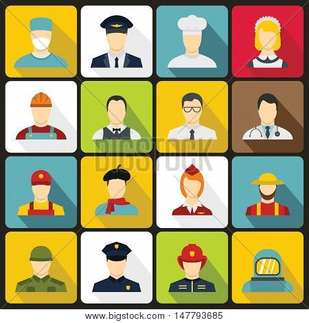 Professions icons set in flat style. People activities set collection vector illustration